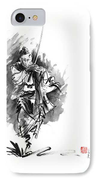 Samurai Sword Bushido Katana Martial Arts Sumi-e Original Running Run Man Design Ronin Ink Painting  IPhone Case by Mariusz Szmerdt