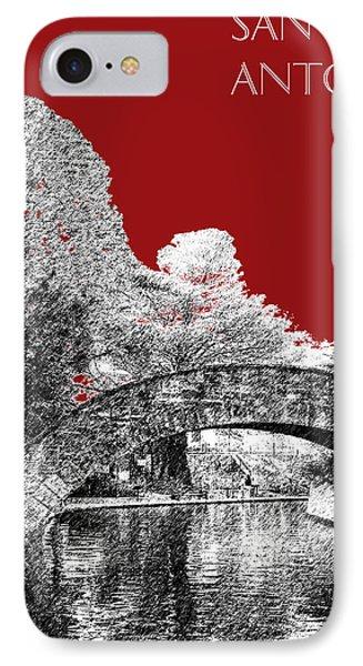 San Antonio Skyline River Walk - Dark Red IPhone Case by DB Artist