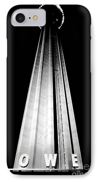 San Antonio Tower Of The Americas Hemisfair Park Space Needle Tower Restaurant Black And White IPhone Case by Shawn O'Brien