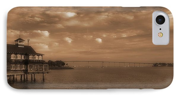 San Diego Bay Bridge Sepia IPhone Case by Russ Harris