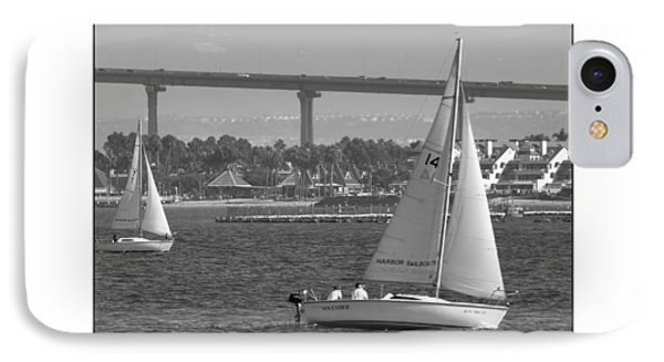 IPhone Case featuring the digital art San Diego Bay Sailing 1 by Kirt Tisdale