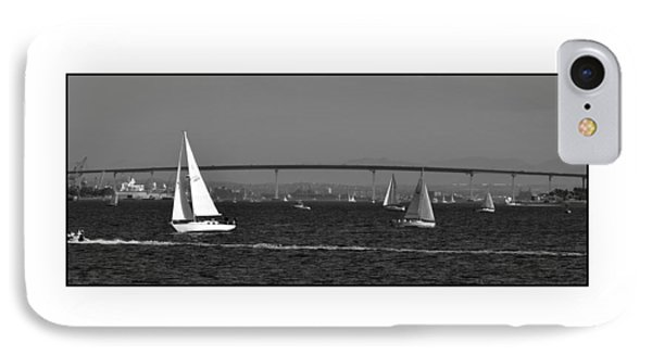 IPhone Case featuring the digital art San Diego Bay Sailing 2 by Kirt Tisdale