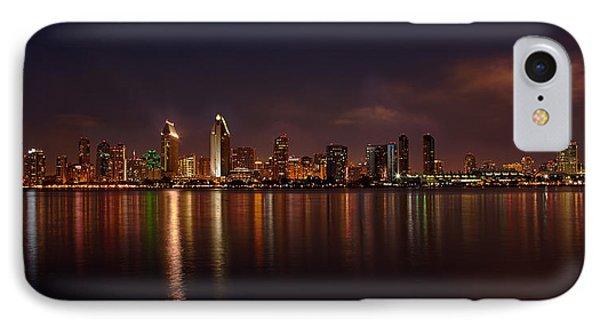 San Diego Night Skyline Phone Case by Peter Tellone