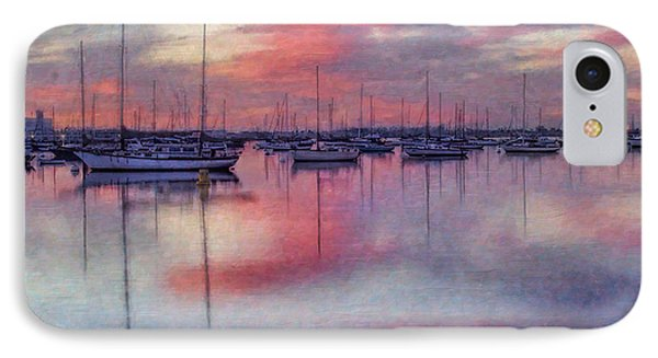 IPhone Case featuring the digital art San Diego - Sailboats At Sunrise by Lianne Schneider
