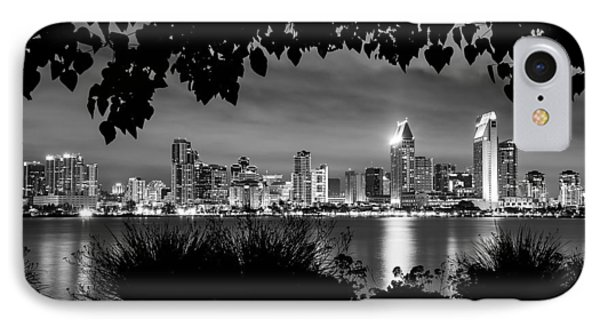 San Diego Skyline Framed 2 Black And White IPhone Case by Lee Kirchhevel