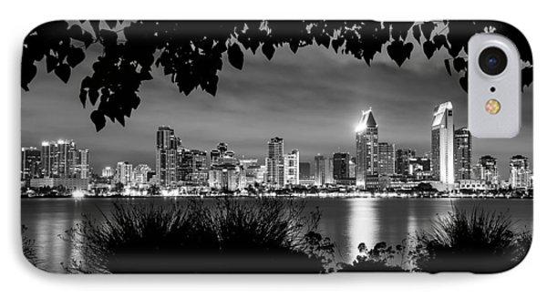 San Diego Skyline Framed 2 Black And White IPhone Case
