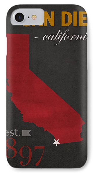 San Diego State University California Aztecs College Town State Map Poster Series No 093 IPhone Case by Design Turnpike