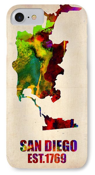 San Diego Watercolor Map IPhone Case by Naxart Studio