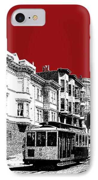 San Francisco Cable Car 2 - Dk Red IPhone Case by DB Artist