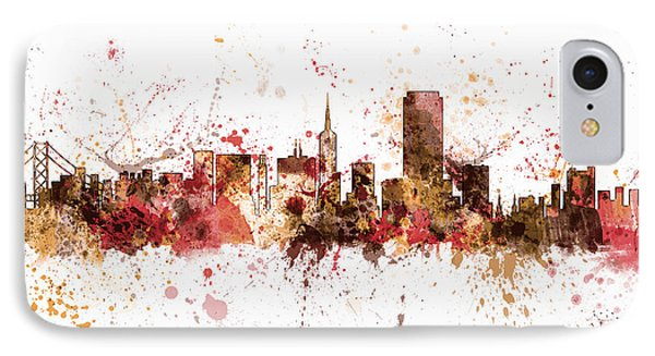 San Francisco California City Skyline IPhone Case by Michael Tompsett