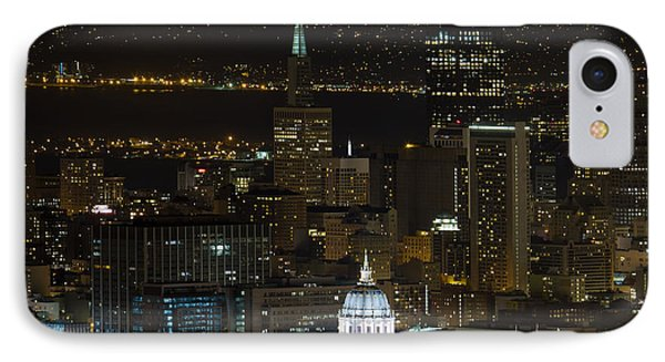 San Francisco Cityscape With City Hall At Night Phone Case by David Gn