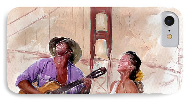 IPhone Case featuring the painting San Francisco Guitar Man by Robert Smith