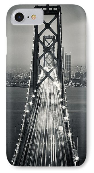 San Francisco - Oakland Bay Bridge Bw IPhone Case by Adam Romanowicz