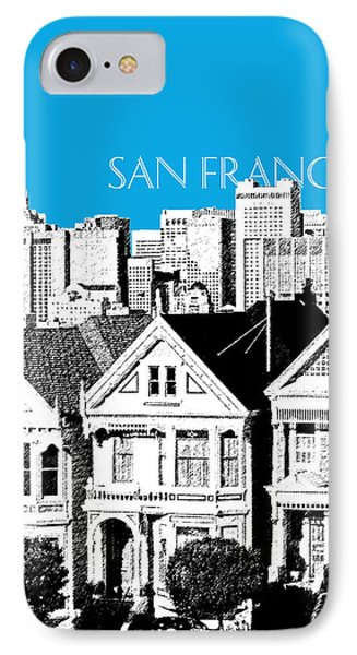 San Francisco Skyline Alamo Square - Ice Blue IPhone Case by DB Artist