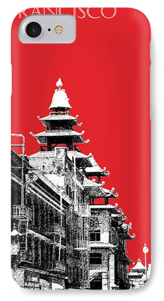 San Francisco Skyline Chinatown - Red Phone Case by DB Artist