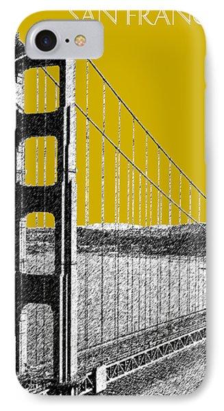 San Francisco Skyline Golden Gate Bridge 1 - Gold IPhone Case by DB Artist