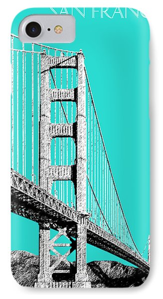 San Francisco Skyline Golden Gate Bridge 2 - Aqua Phone Case by DB Artist