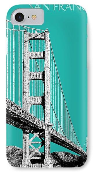San Francisco Skyline Golden Gate Bridge 2 - Teal Phone Case by DB Artist