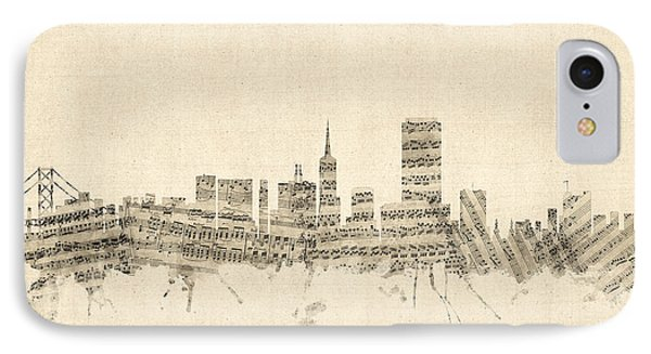 San Francisco Skyline Sheet Music Cityscape IPhone Case by Michael Tompsett