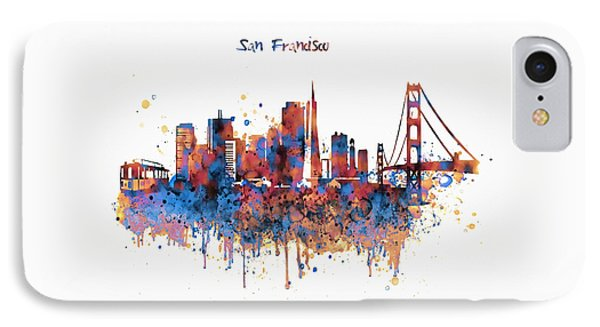 San Francisco Watercolor Skyline IPhone Case by Marian Voicu