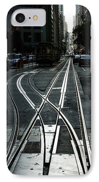 IPhone Case featuring the photograph San Francisco Silver Cable Car Tracks by Georgia Mizuleva