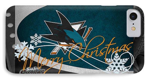 San Jose Sharks Christmas IPhone Case by Joe Hamilton