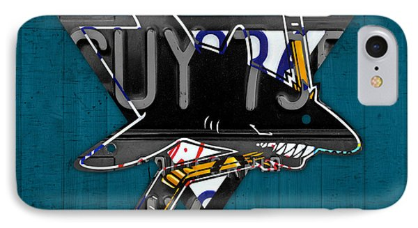 San Jose Sharks Hockey Team Retro Logo Vintage Recycled California License Plate Art IPhone Case by Design Turnpike