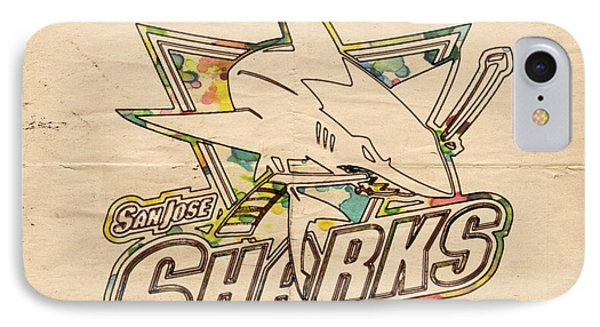 San Jose Sharks Vintage Poster IPhone Case by Florian Rodarte