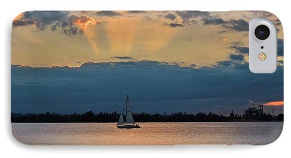San Juan Bay Sunset And Sailboat IPhone Case by Ricardo J Ruiz de Porras