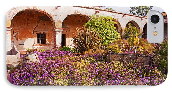 San Juan Capistrano Mission Flower Garden IPhone Case by A Gurmankin