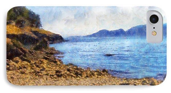 IPhone Case featuring the digital art San Juan Island Beach by Kaylee Mason