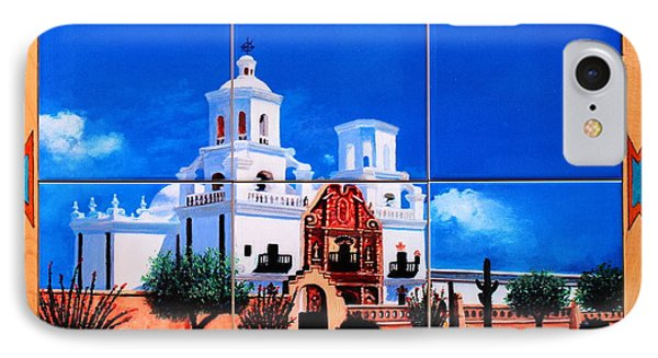 San Xavier Mission Tile Mural IPhone Case by M Diane Bonaparte