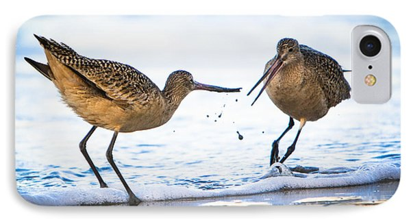 Sanderlings Playing At The Beach IPhone Case by John Wadleigh