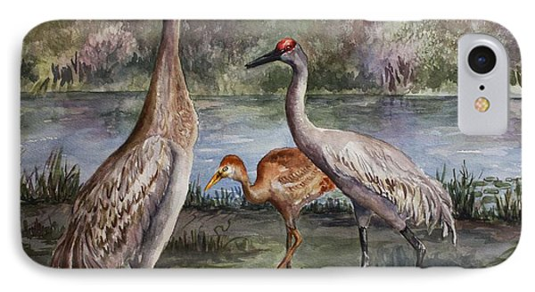 IPhone Case featuring the painting Sandhill Cranes On Alert by Roxanne Tobaison
