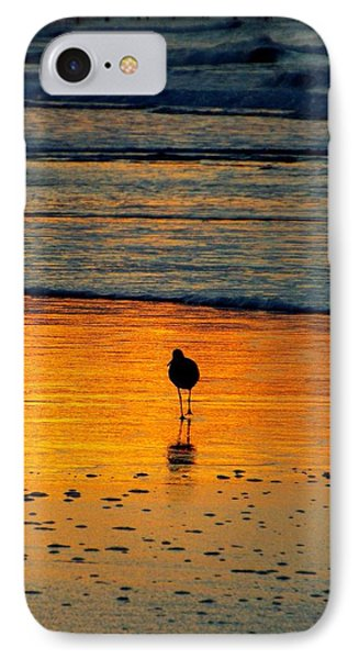 Sandpiper In Golden Dawn Surf IPhone Case by Cindy Croal
