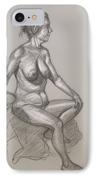 IPhone Case featuring the drawing Sandra Seated #3 by Donelli  DiMaria