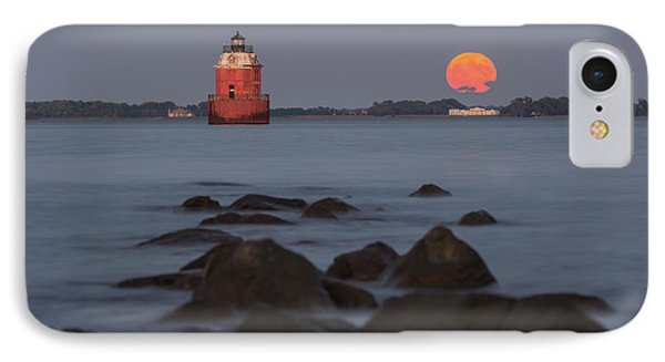 IPhone Case featuring the photograph Sandy Point Lighthouse Moonrise by Jennifer Casey