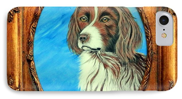 IPhone Case featuring the painting Sandy.english Springer Spaniel by Fram Cama