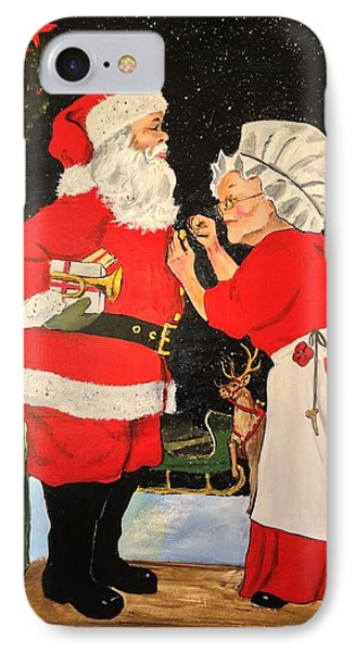 Santa And Mrs IPhone Case by Alan Lakin