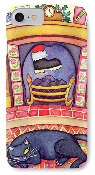 Santa Arriving Down The Chimney IPhone Case by Cathy Baxter