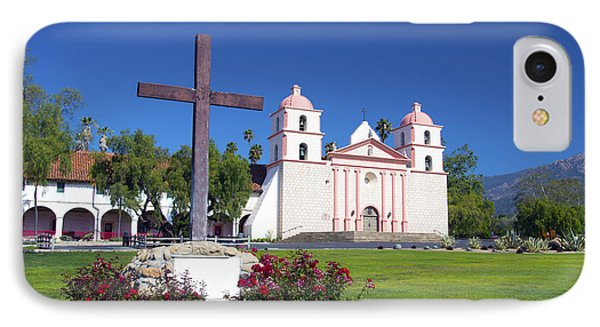 Santa Barbara Mission And Cross IPhone Case by Barbara Snyder