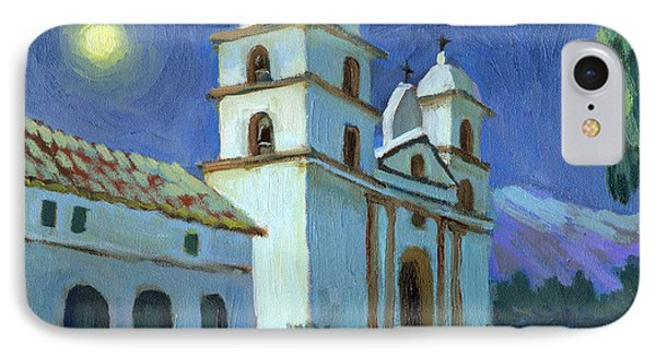 Santa Barbara Mission Moonlight IPhone Case by Diane McClary