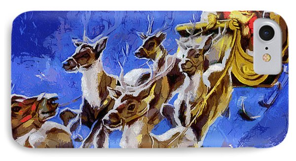Santa Claus And Reindeer IPhone Case by Georgi Dimitrov