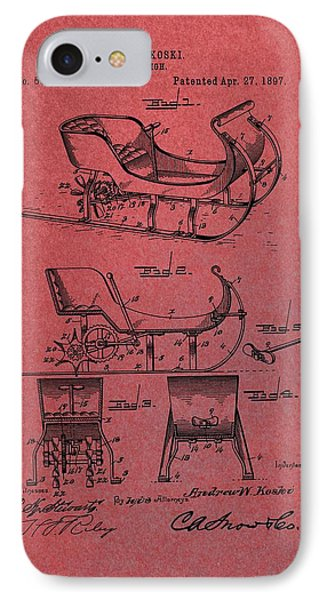 Santa Claus Sleigh Patent Red IPhone Case by Dan Sproul