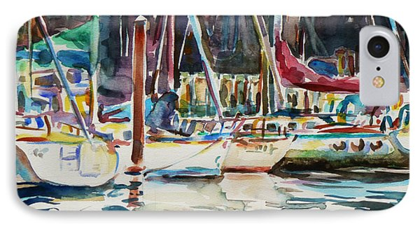 IPhone Case featuring the painting Santa Cruz Dock by Xueling Zou