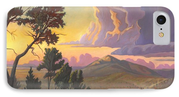 IPhone Case featuring the painting Santa Fe Baldy - Detail by Art James West