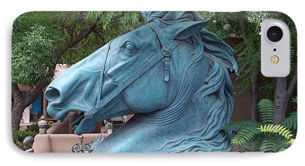Santa Fe Big Blue Horse IPhone Case by Sylvia Thornton