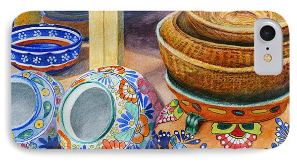 IPhone Case featuring the painting Santa Fe Hold 'em Pots And Baskets by Karen Fleschler