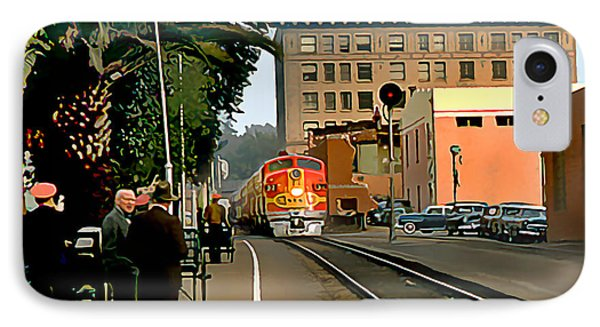 Santa Fe Train Comes Into Town IPhone Case by Wernher Krutein