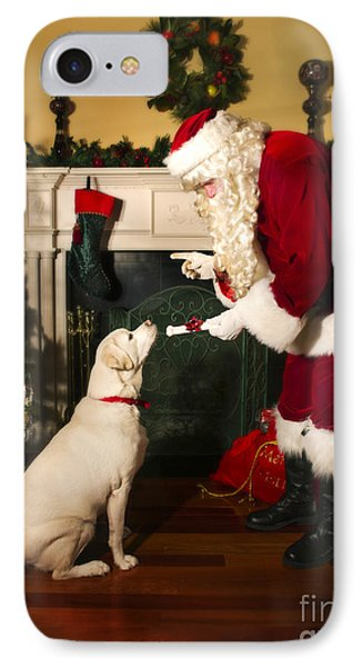Santa Giving The Dog A Gift IPhone Case